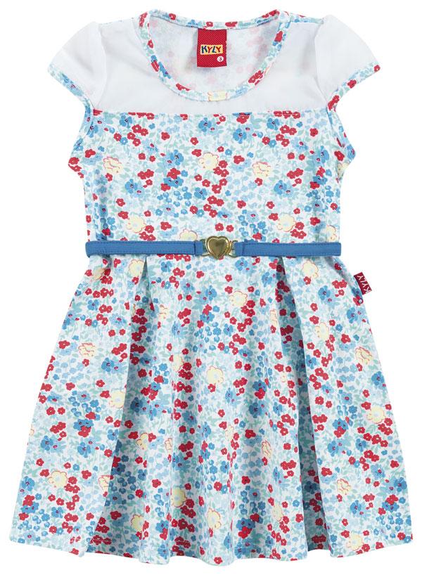 Vestido Azul Malibu com Detalhes em Flores   KYLY