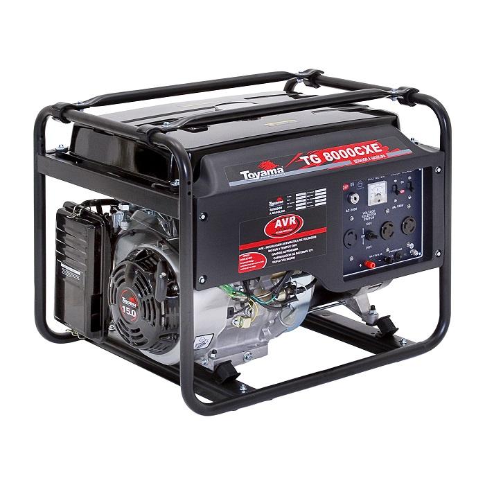 Gerador de Energia a Gasolina 7 KVA TG 8000 CXE Bivolt - TOYAMA  - Lavadora Wap - Real Comercio de Equipamentos Ltda