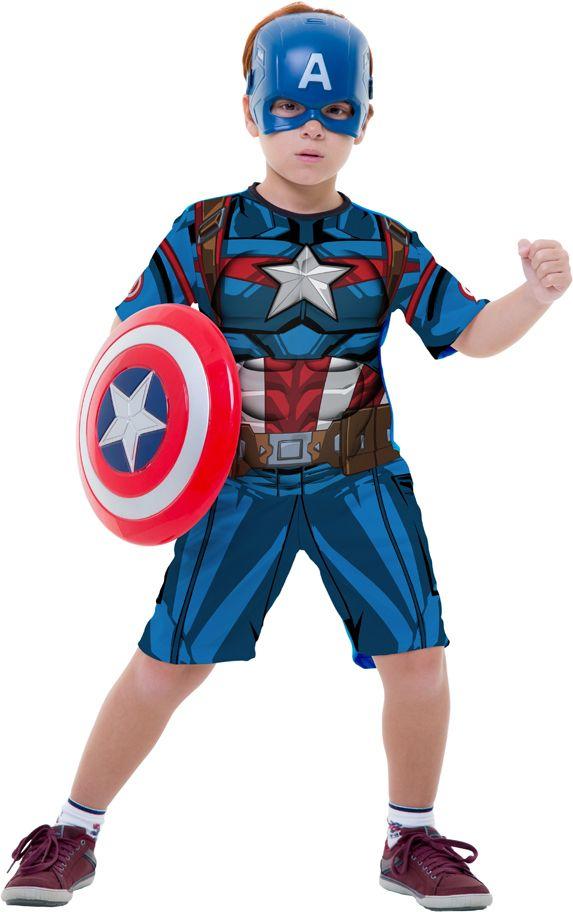 Fantasia Capitão América Infantil com Escudo