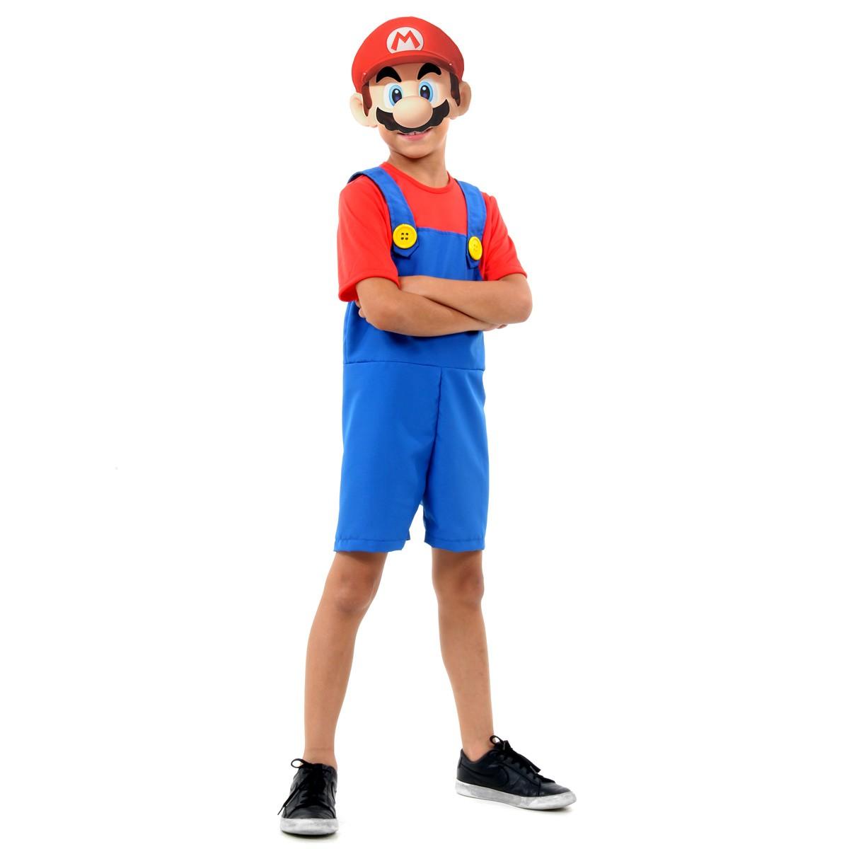 Fantasia Mario Bros Infantil Curto