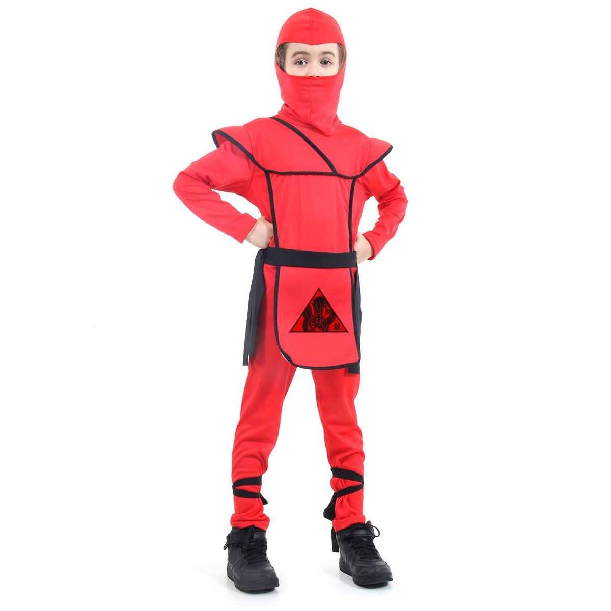 Fantasia Ninja Vermelho Infantil Samurai Luxo