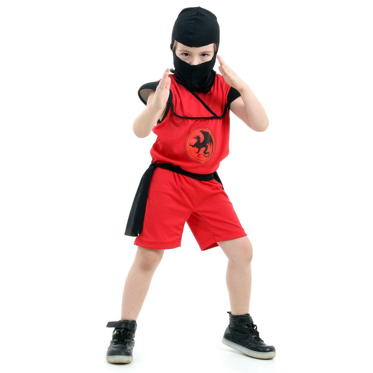 Fantasia Ninja Vermelho Infantil Samurai