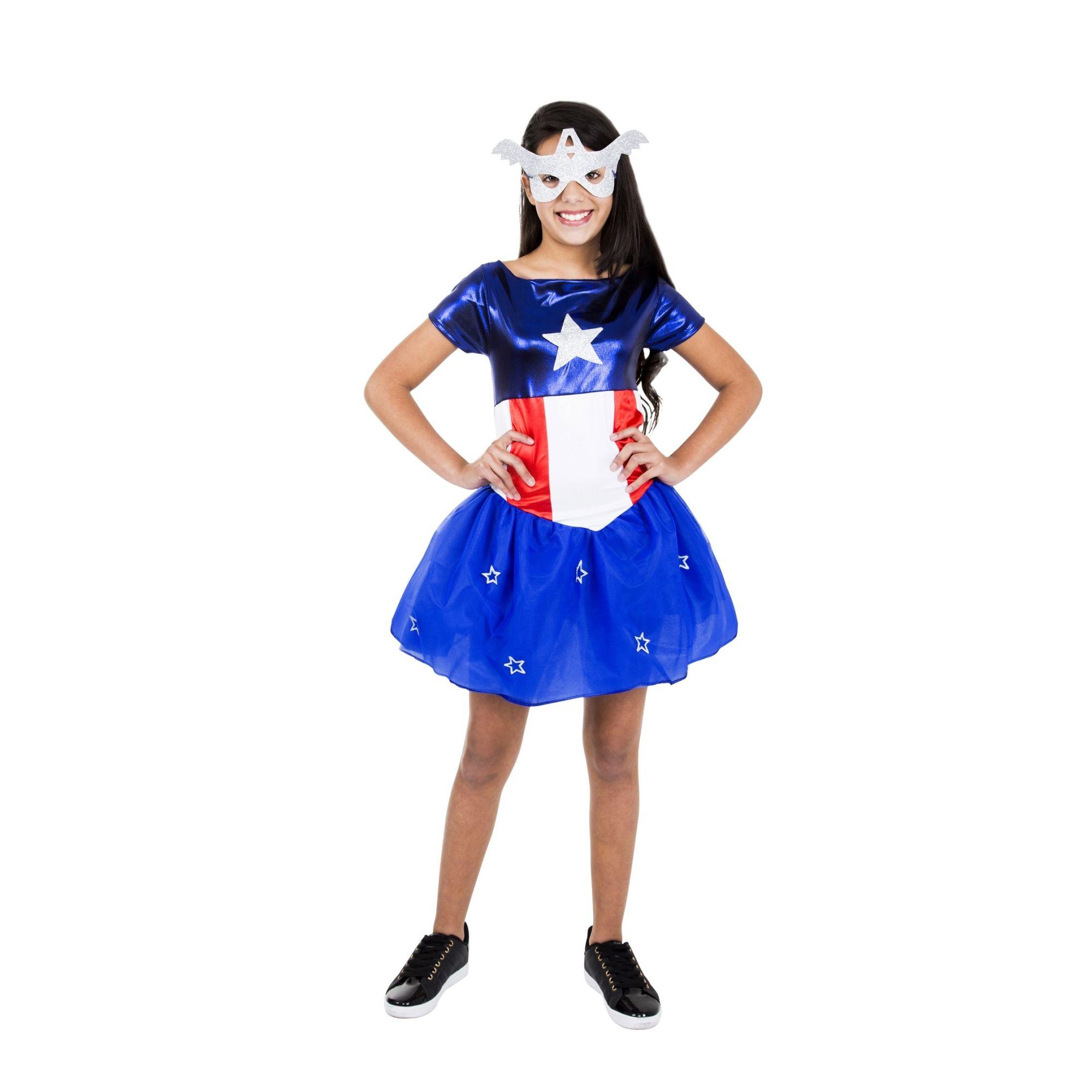 Fantasia Vestido Capitão América Feminina Infantil Vingadores