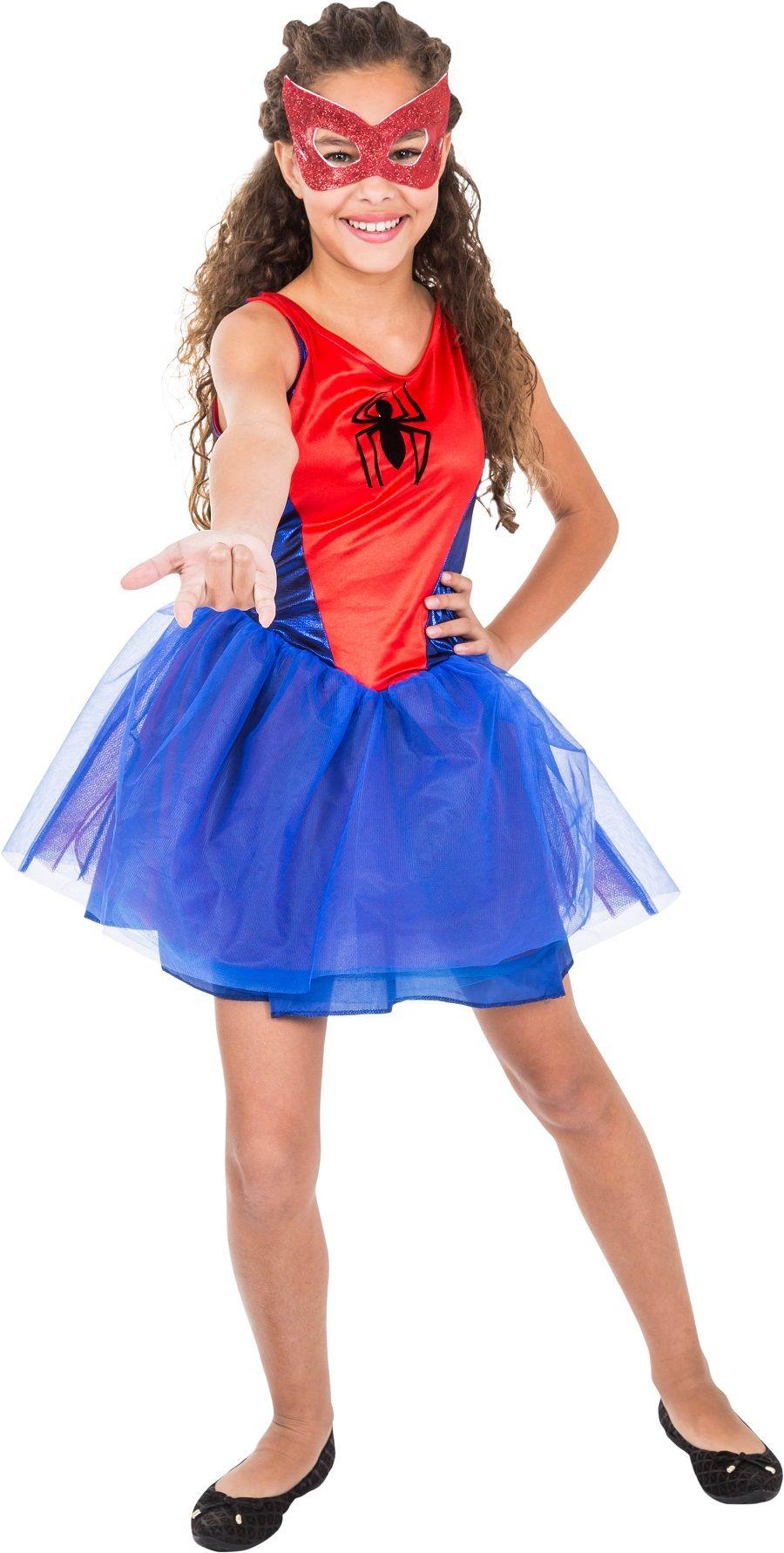 Fantasia Vestido Homem Aranha Feminina Infantil Marvel