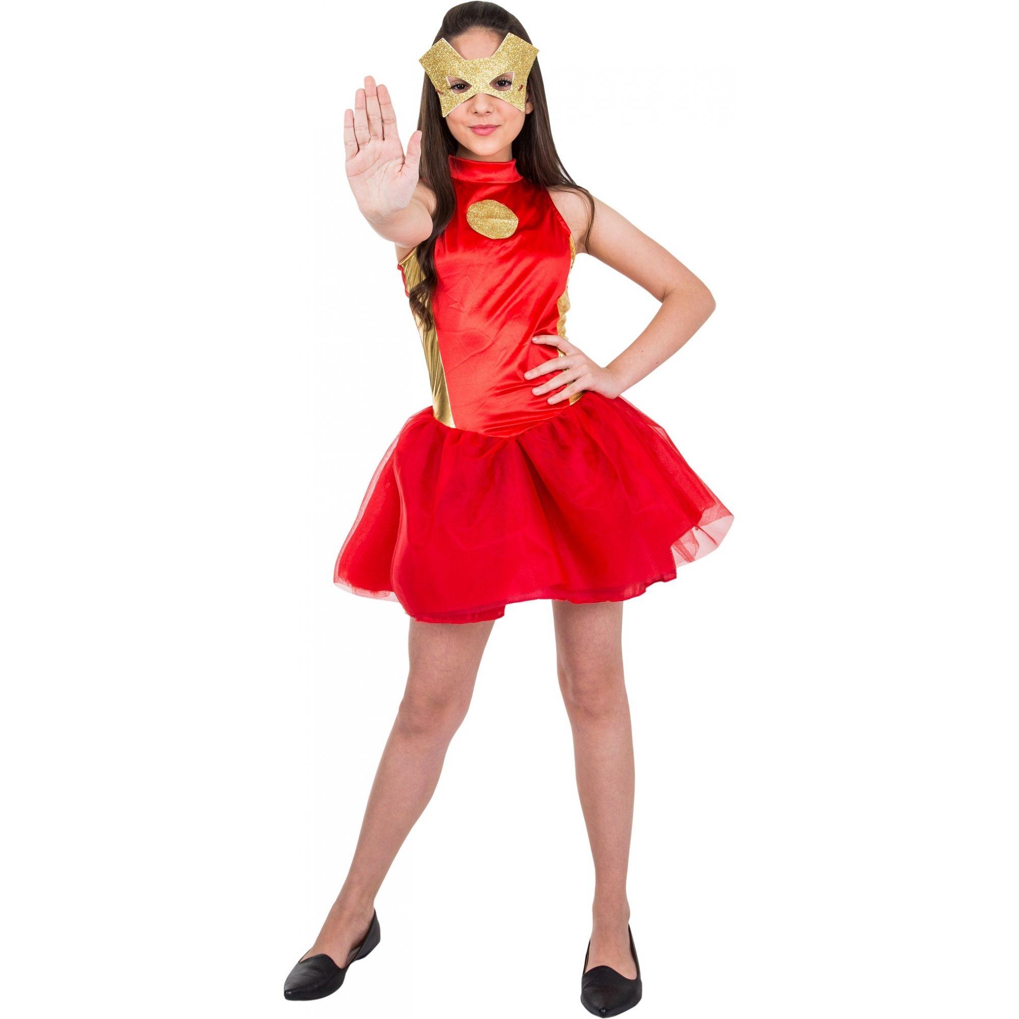 Fantasia Vestido Homem de Ferro Feminina Infantil Vingadores