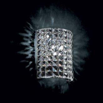 Arandela Gliss 18x9x22cm Metal e Cristal 1xG9, Cromado e Transparente