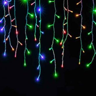 Cascata de Natal 400 LED Fixo Fio Branco Luz Colorido 10 x 0,65 Metros