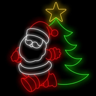 Figura Natalina Luminosa Papai Noel e Arvore Fachada FIG-044