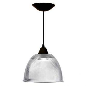 """Luminária prismática 12"""" pendente preto"""