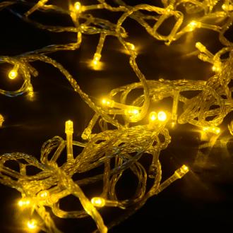 Pisca de Natal 100 LED 4 Funções Fio Transparente Luz Amarelo 9,5 Metros