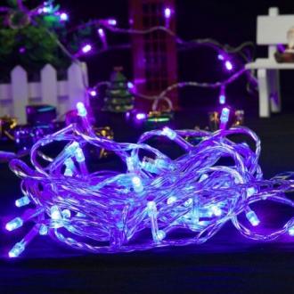 Pisca de Natal 100 LED 4 Funções Fio Transparente Luz Azul 9,5 Metros