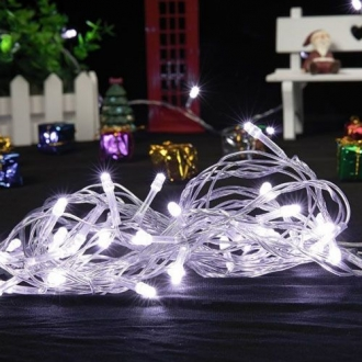 Pisca de Natal 100 LED 4 Funções Fio Transparente Luz Branca 9,5 Metros