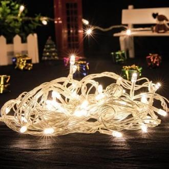 Pisca de Natal 100 LED 4 Funções Fio Transparente Luz Branco Quente 9,5 Metros