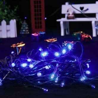 Pisca de Natal 100 LED Fixo Fio Verde Luz Azul 9,5 Metros Blindado