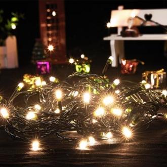Pisca de Natal 100 LED Fixo Fio Verde Luz Branco Quente 9,5 Metros Blindado