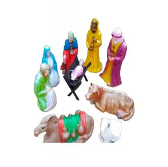 Presépio Natalino Decorativo de Jardim Sagrada Família Colorido 9 Peças em Polietileno