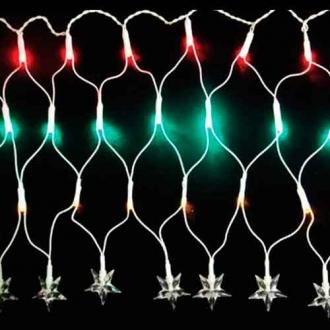 Rede de Natal 120 LED Estrela 4 Funções  Fio Branco Luz Colorido 3,7 Metros