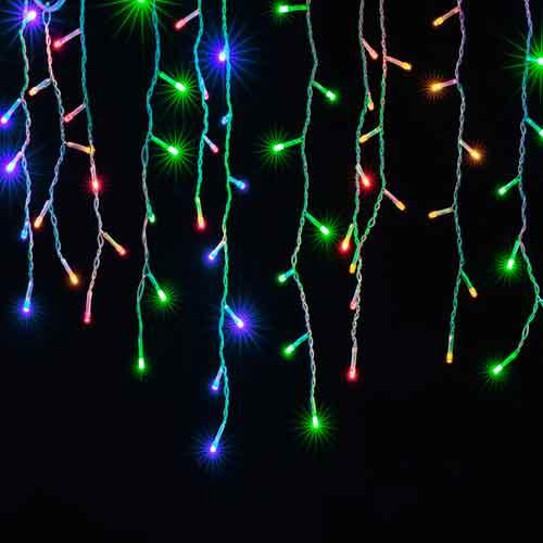 Cascata de Natal 100 LED 4 Funções Fio Branco Luz Colorido 3,7 Metros  - RJE ILUMINAÇÃO