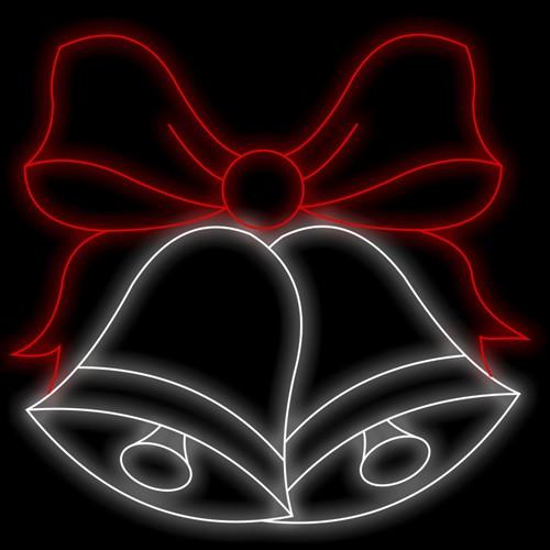 Figura Natalina Luminosa 2 Sinos com Laços Fachada FIG-024  - RJE ILUMINAÇÃO