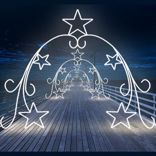 Figura Natalina Luminosa 5 Estrelas Arabescos Portal FIG-045  - RJE ILUMINAÇÃO