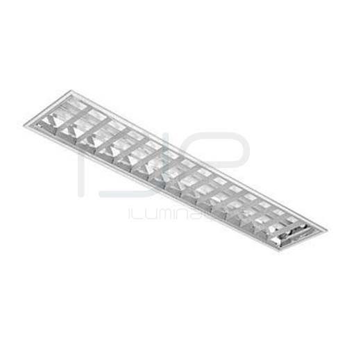 Luminária comercial de embutir para 2 lâmpadas c/ aletas planas em alumínio • RJE407  - RJE ILUMINAÇÃO