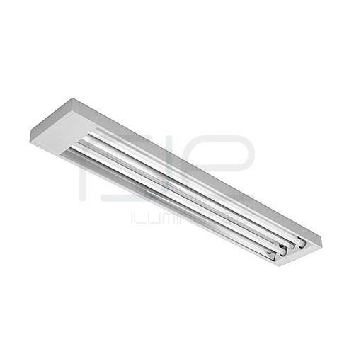 Luminária comercial de sobrepor para 2 lâmpadas c/ refletor facetado em alumínio • RJS323  - RJE ILUMINAÇÃO
