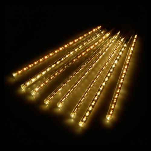 Luz de Natal Snowfall LED 8 Tubos de 50CM Luz Branco Quente Bivolt  - RJE ILUMINAÇÃO