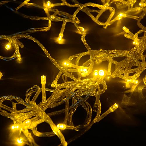 Pisca de Natal 100 LED 4 Funções Fio Transparente Luz Amarelo 9,5 Metros  - RJE ILUMINAÇÃO