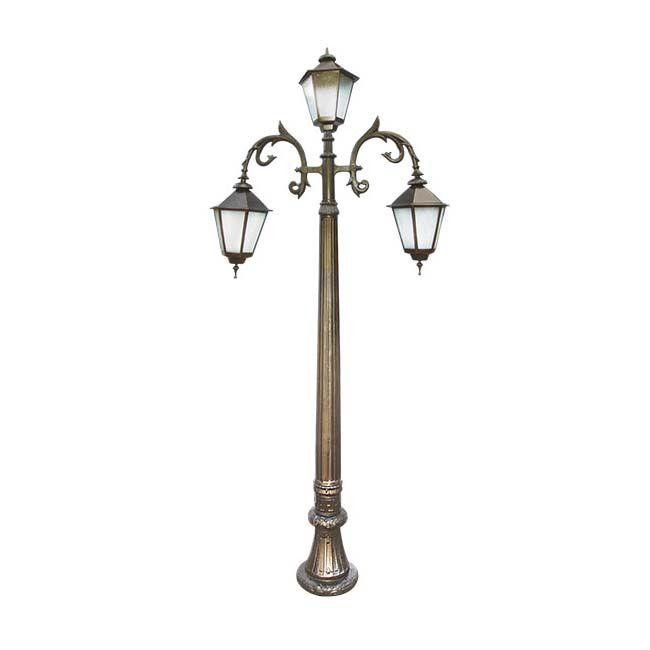Poste Colonial de Jardim Nápoles com 3 Luminárias  - RJE ILUMINAÇÃO