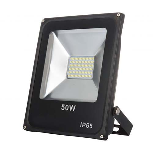 Refletor LED SMD 50W - Branco frio Preto  - RJE ILUMINAÇÃO
