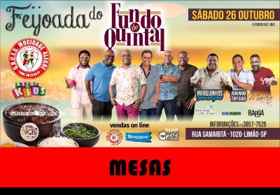 MESAS DE 31 a 60 - FEIJOADA FUNDO DE QUINTAL 26/10/2019  - Mocidade Alegre