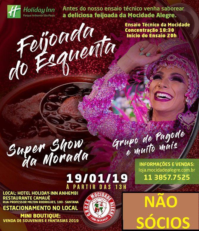 NÃO SÓCIOS - FEIJOADA ESQUENTA  19/01/2019  - Mocidade Alegre