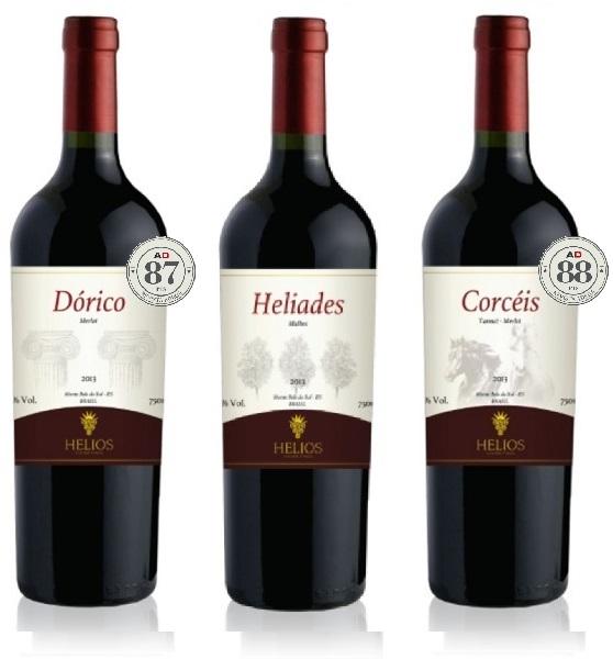 3 Garrafas: Dórico - Helíades - Corcéis  - Vinícola Helios