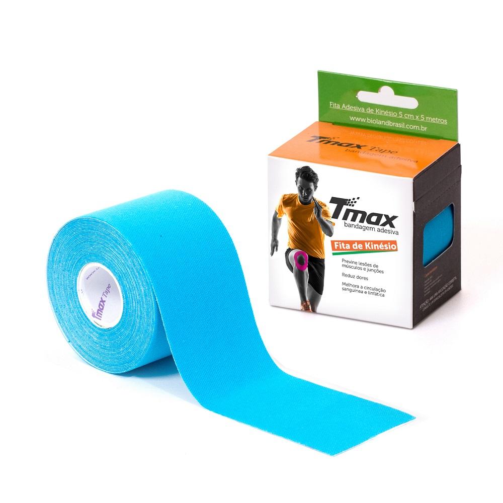 Kinésio Tmax Azul - Bandagem Elástica Terapêutica: 5 cm X 5 metros