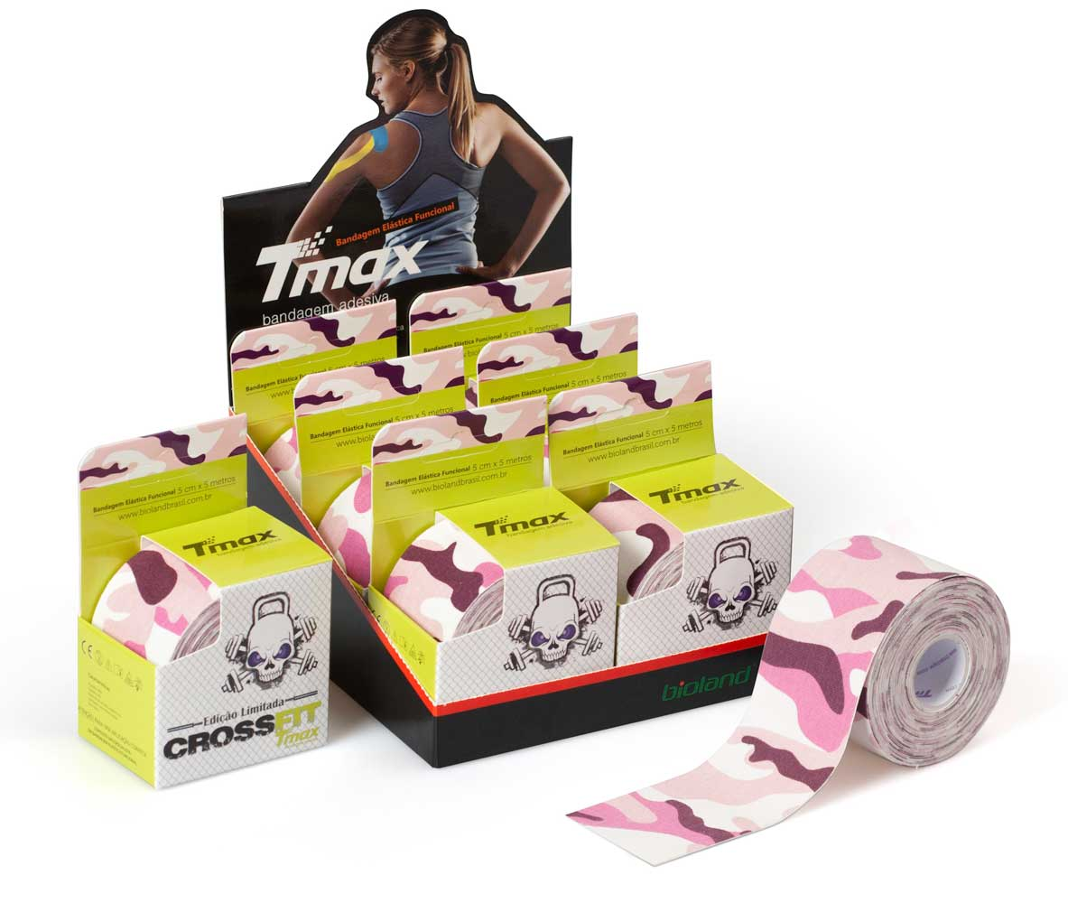 Kinesio Tmax Crossfit Rosa - Bandagem Elástica Terapêutica 5 cm X 5 metros