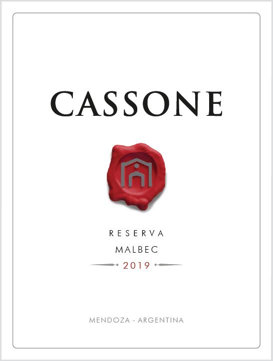 CASSONE RESERVA VARIETAL  MALBEC 2019  - Familia Cassone