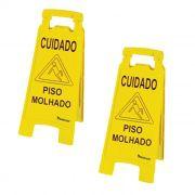 Kit 02 placas de sinalização para limpeza