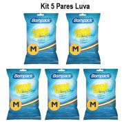 Kit 05 pares luva latex verniz silver tam M
