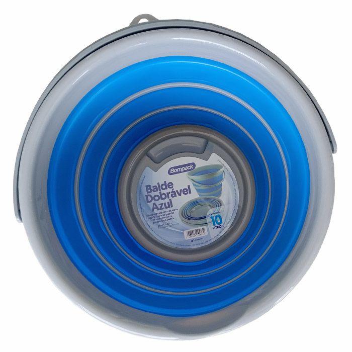 Balde Dobrável Retrátil Azul 10 Litros Kit 3 Unidades