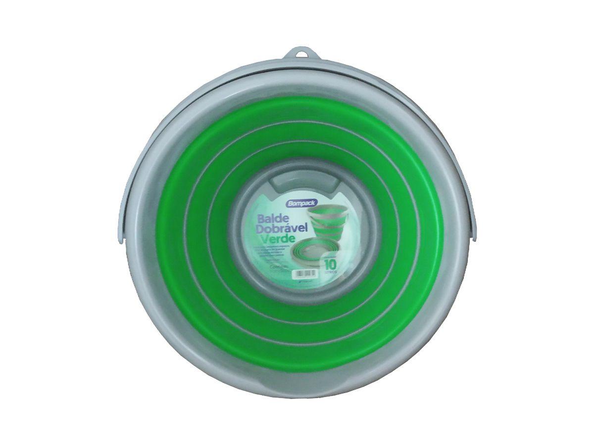 Balde Dobrável Verde 10 Litros Kit 3 Unidades
