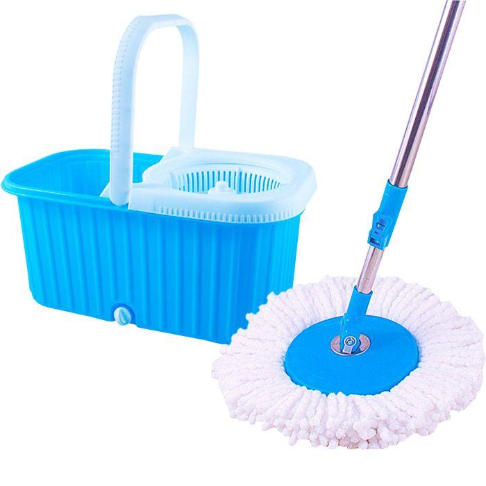 Balde Esfregão Limpeza C Rodinhas, 2 Refis + Rodo Limpa Vidros 50 Cm