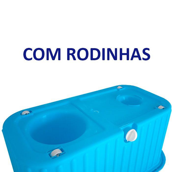 Balde Esfregão Limpeza com Rodinhas, 2 Refis e Vassoura Mágica