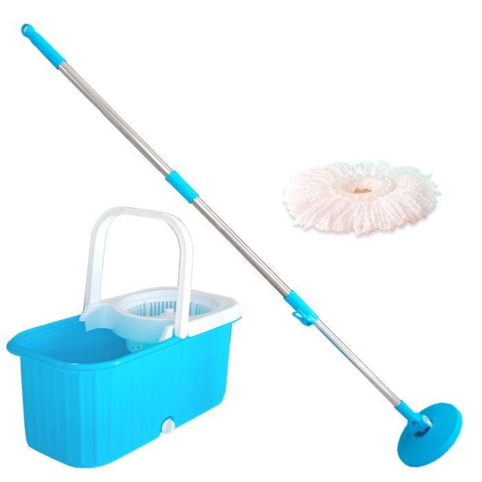 Balde Esfregão Spin Mop Limpeza Centrífuga 360 com Rodinhas