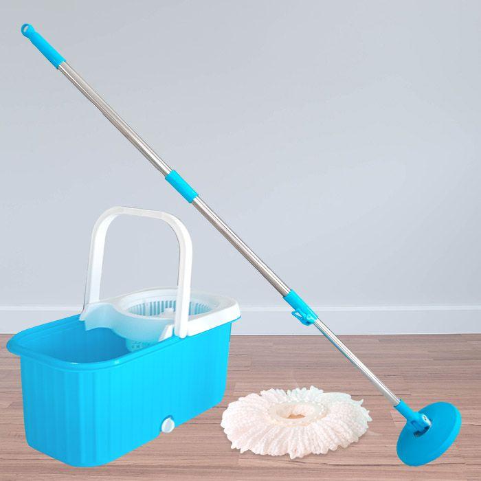 Balde Esfregão Spin Mop C Rodinhas Limpeza Com 3 Refis