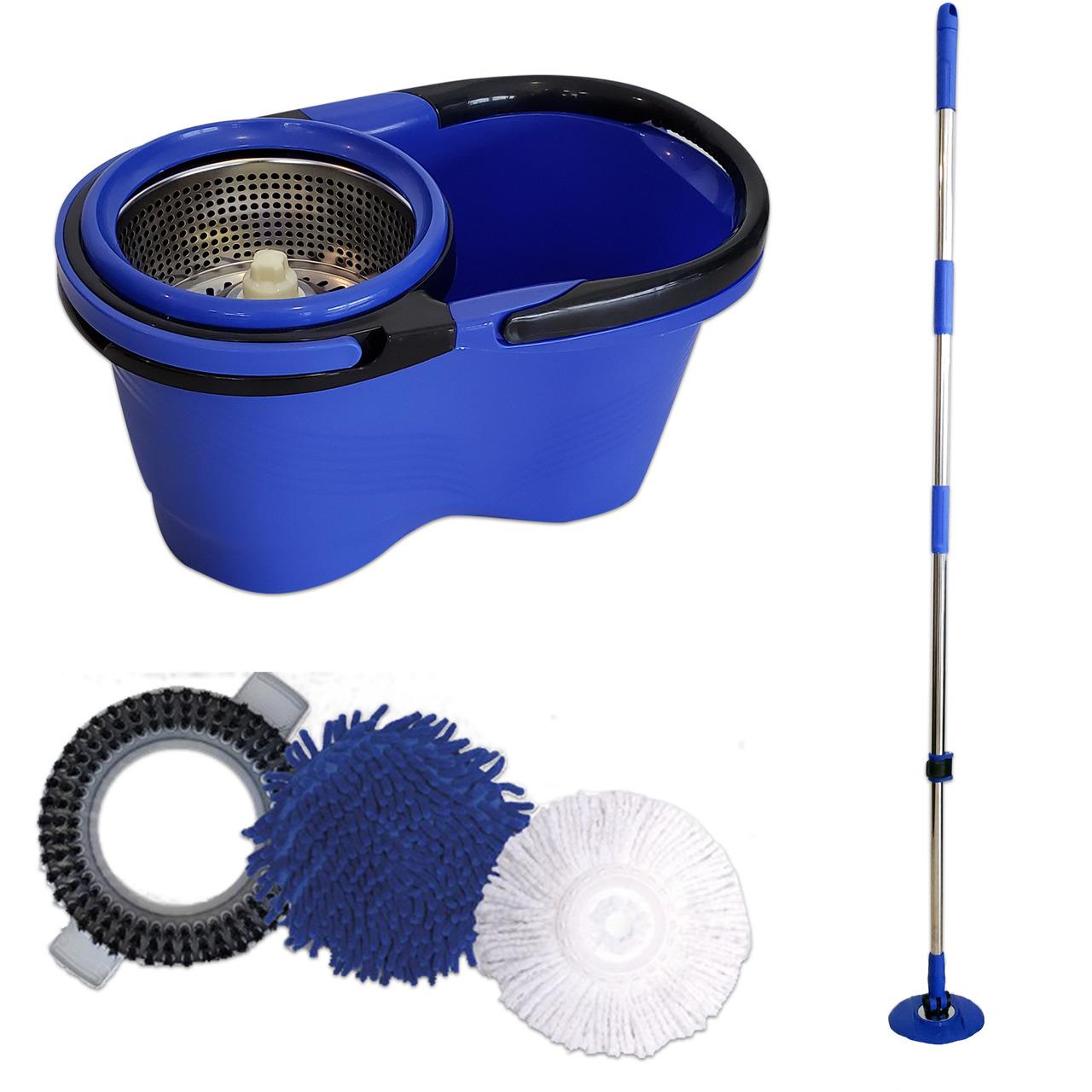 Balde Perfect Mop Pro Cesto Inox 3 Refis Limpa Vidros e Luvas