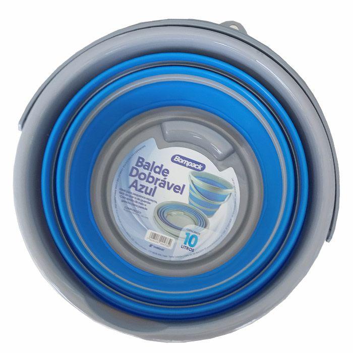 Balde Retrátil Dobrável Azul 10 Litros
