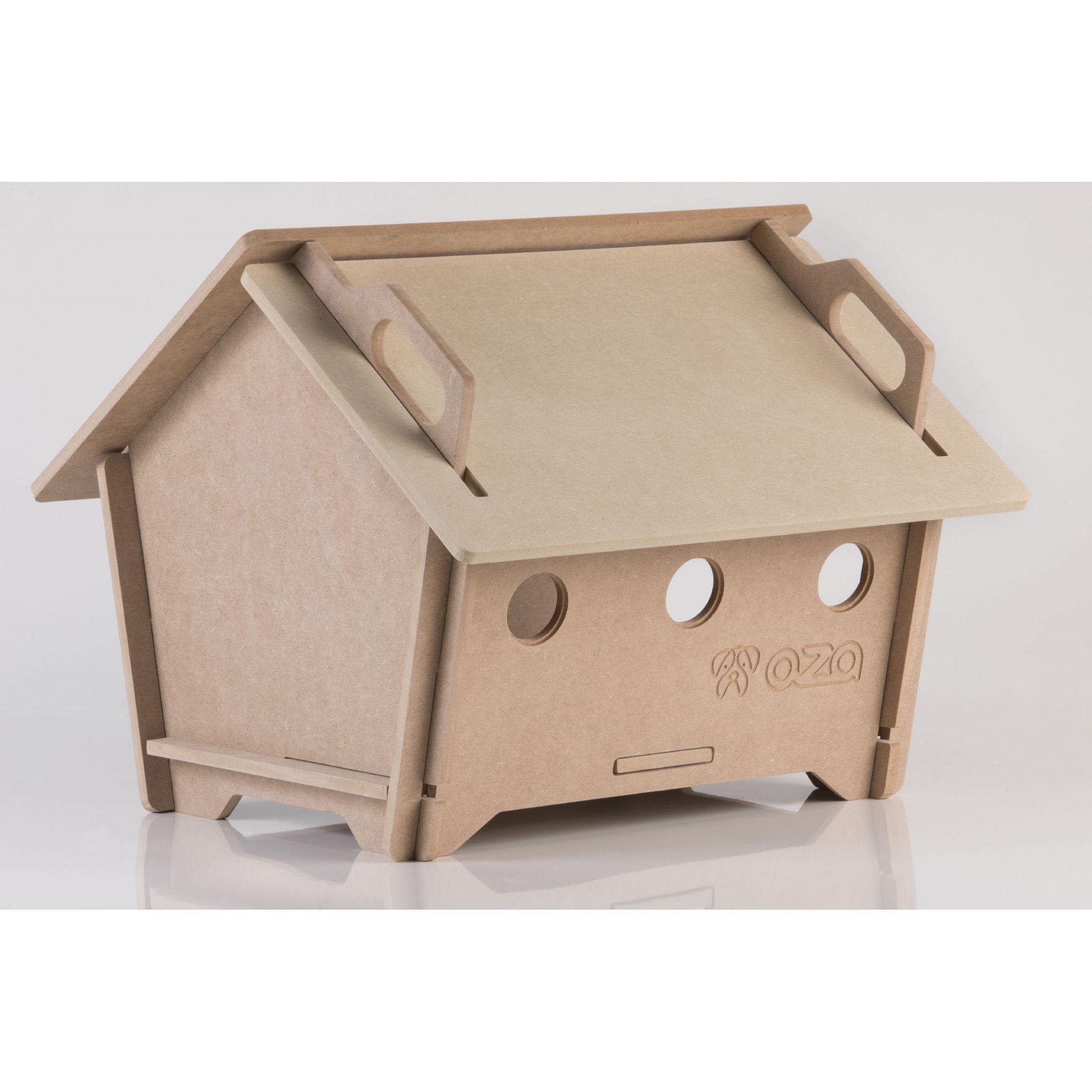 Casa De Cachorro Em Madeira - Tam G Natural Pentagonal