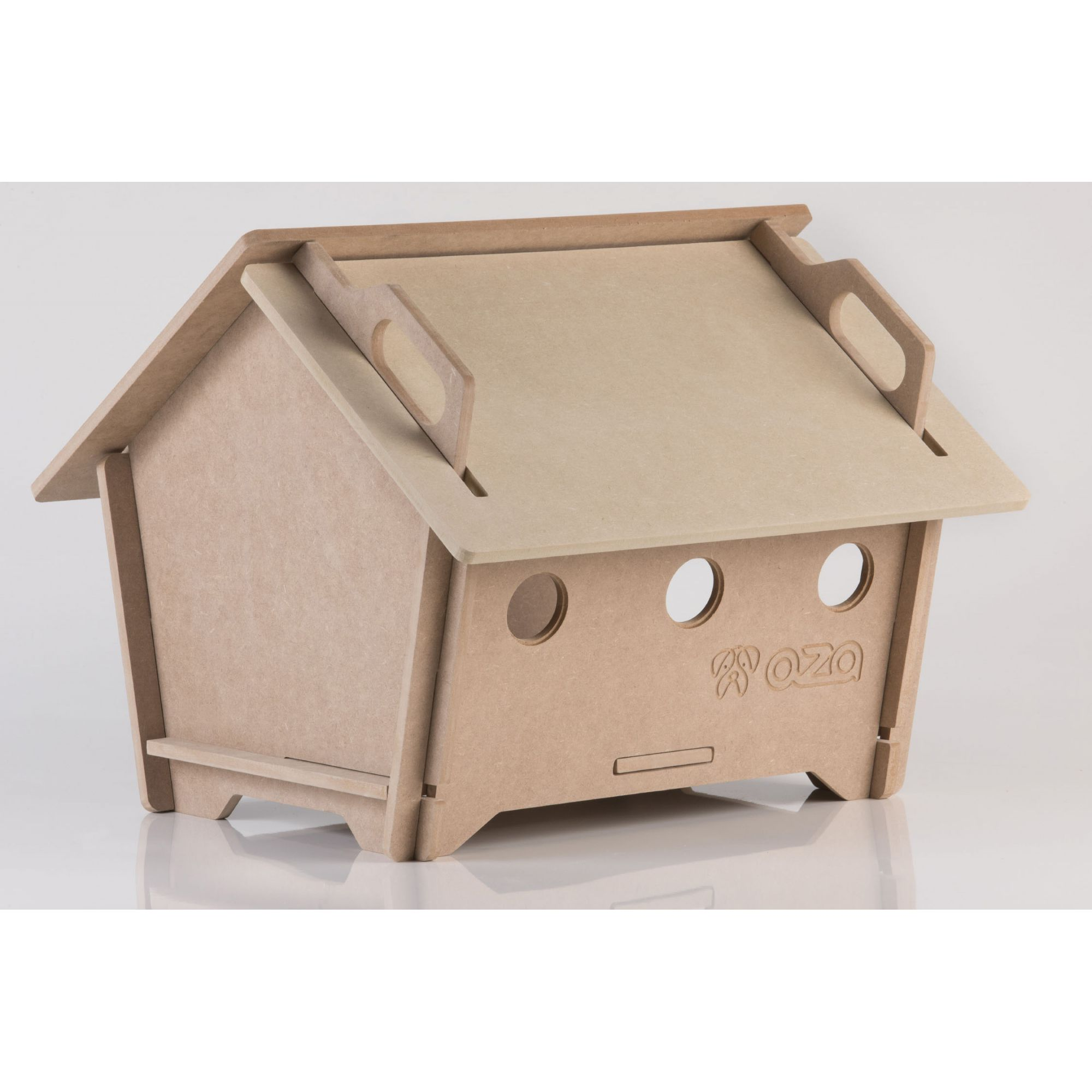 Casa De Cachorro Em Madeira - Tam M Natural Pentagonal