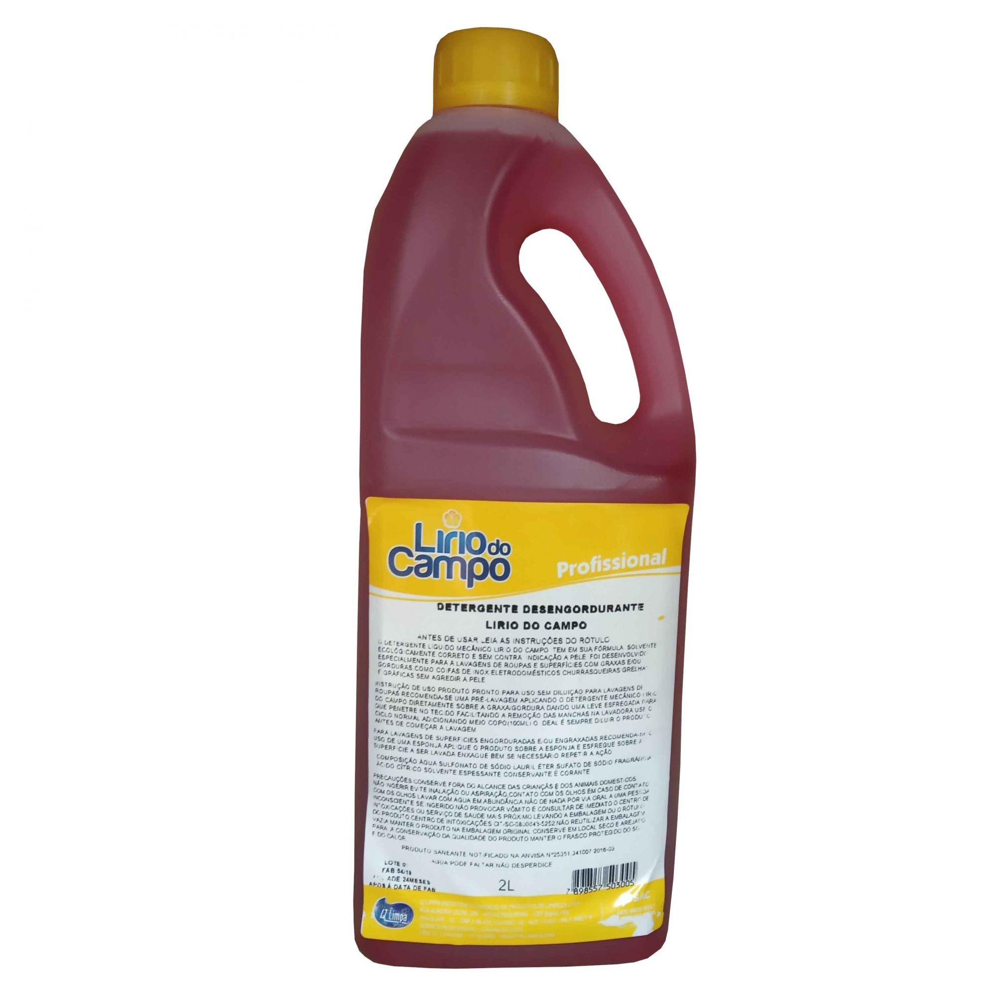 Detergente Desengordurante Uso Profissional Lirio do Campo 2L