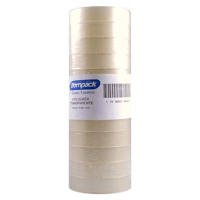 Fita Durex Transparente 24mm X 50 Mts Com 12 Unidades